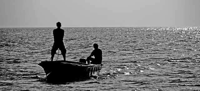 Anglers In Black And White